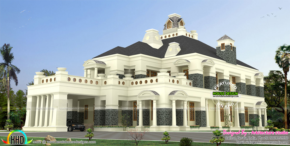 Super luxury colonial house kerala home design and floor for Colonial luxury house plans