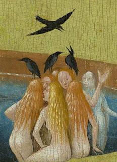 Jérôme Bosch : femmes et corbeaux dans le bassin central, détail du Jardin des Délices, panneau central, musée du Prado, Madrid