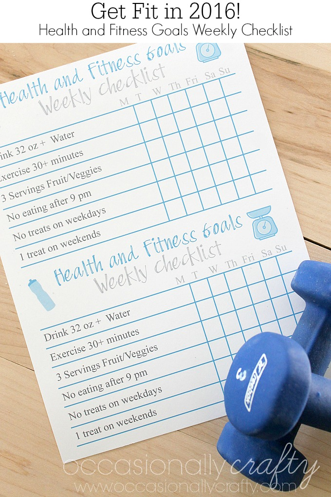 Free Printable Health And Fitness Goal Checklist  Occasionally
