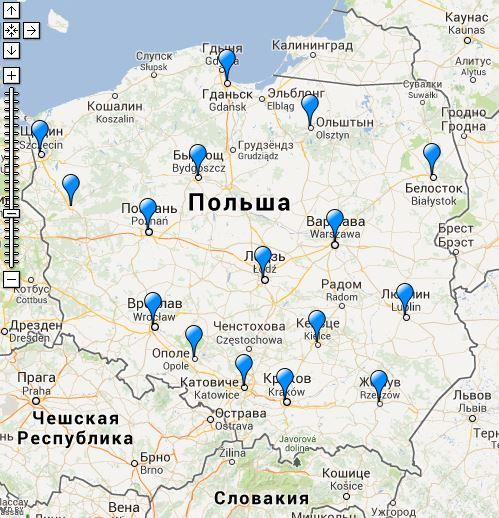 Польша воеводства и их столицы