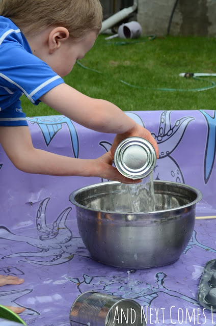 Kid pouring water in a kiddie pool as part of a musical science experiment for kids