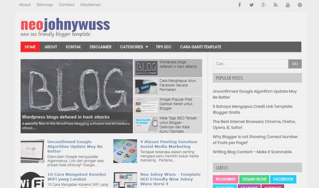 New SEO Johny Wuss V4 Responsive Blogger Templates
