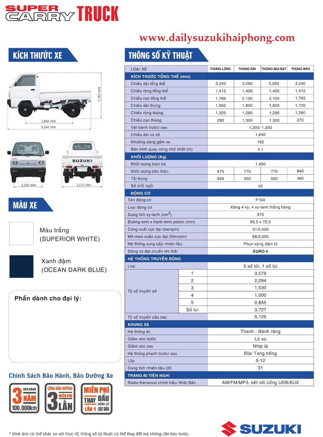 Xe tải Suzuki 550kg Hải Phòng