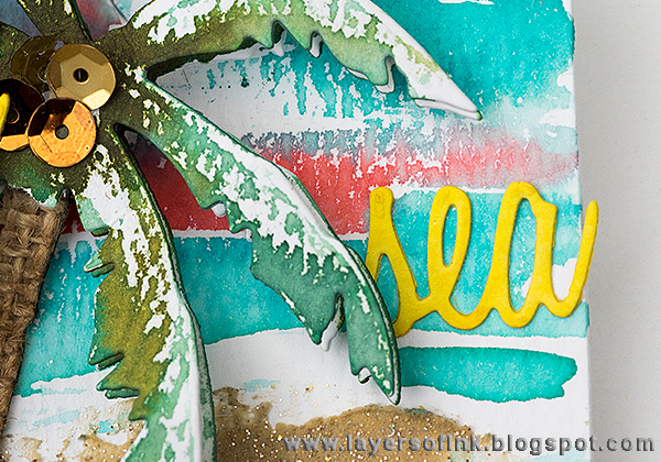 Layers of ink - Tropical Beach Tag Tutorial by Anna-Karin withTim Holtz Tropicals Sizzix dies.