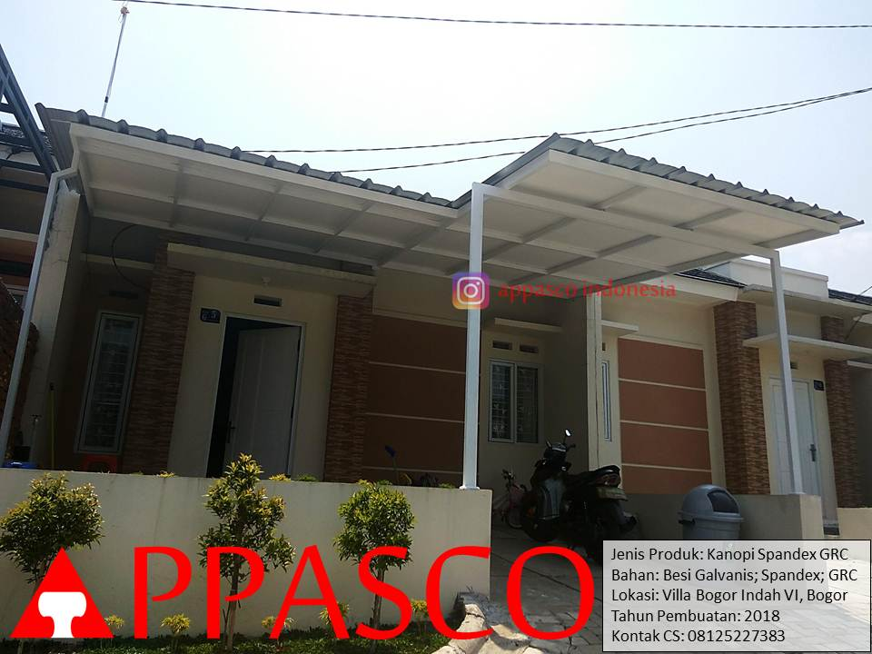 Kanopi Cantik Minimalis Modern Atap Spandek Peredam GRC di Villa Bogor Indah 6