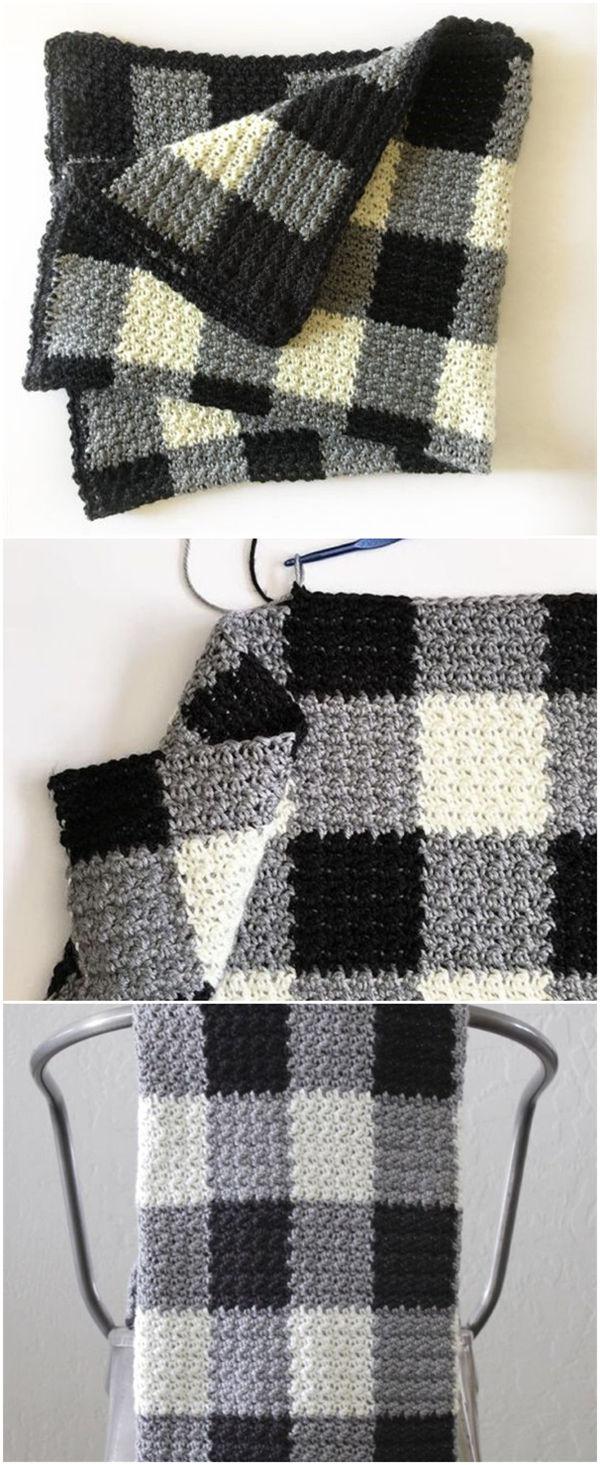 Crochet Griddle Stitch Black Gingham Blanket