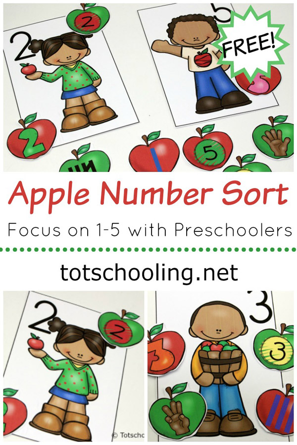 FREE printable Apple themed activity for toddlers and preschoolers to practice number recognition with sorting numbers 1-5. Perfect preschool math activity for the Fall!
