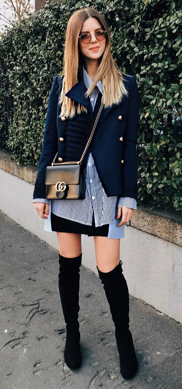 office style obsession: jacket + shirt + bag + skirt + over the knee boots