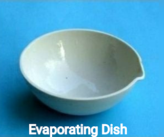 A labelled Evaporating dish