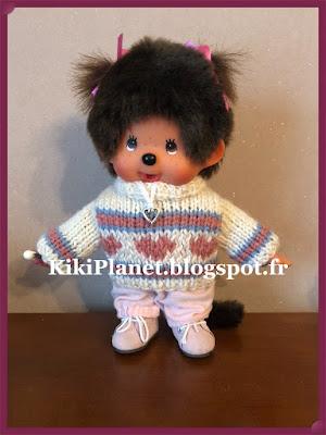 "Pull jacquard ""coeur"" fait main pour Kiki ou Monchhichi tricot, knitting, fait main, vintage"