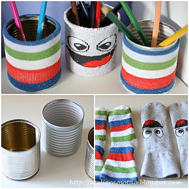 Ideias para reciclar latas com meias velhas