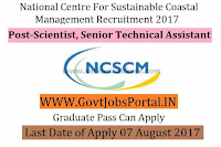 National Centre for Sustainable Coastal Management Recruitment 2017- Scientist, Senior Technical Assistant