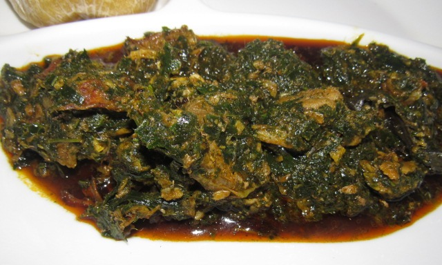 Afang soup with a side of eba