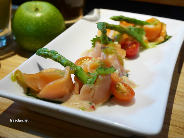 Smoked Salmon Ceviche with Avocado, Cilantro and Asparagus