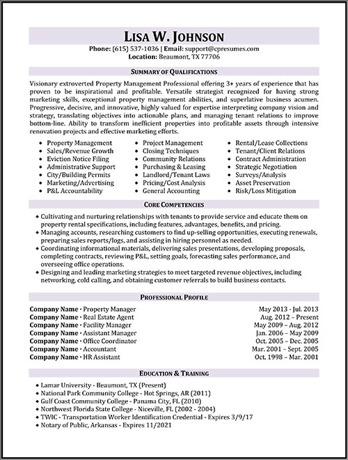 property manager resume sample sample resumes - Example Management Resume