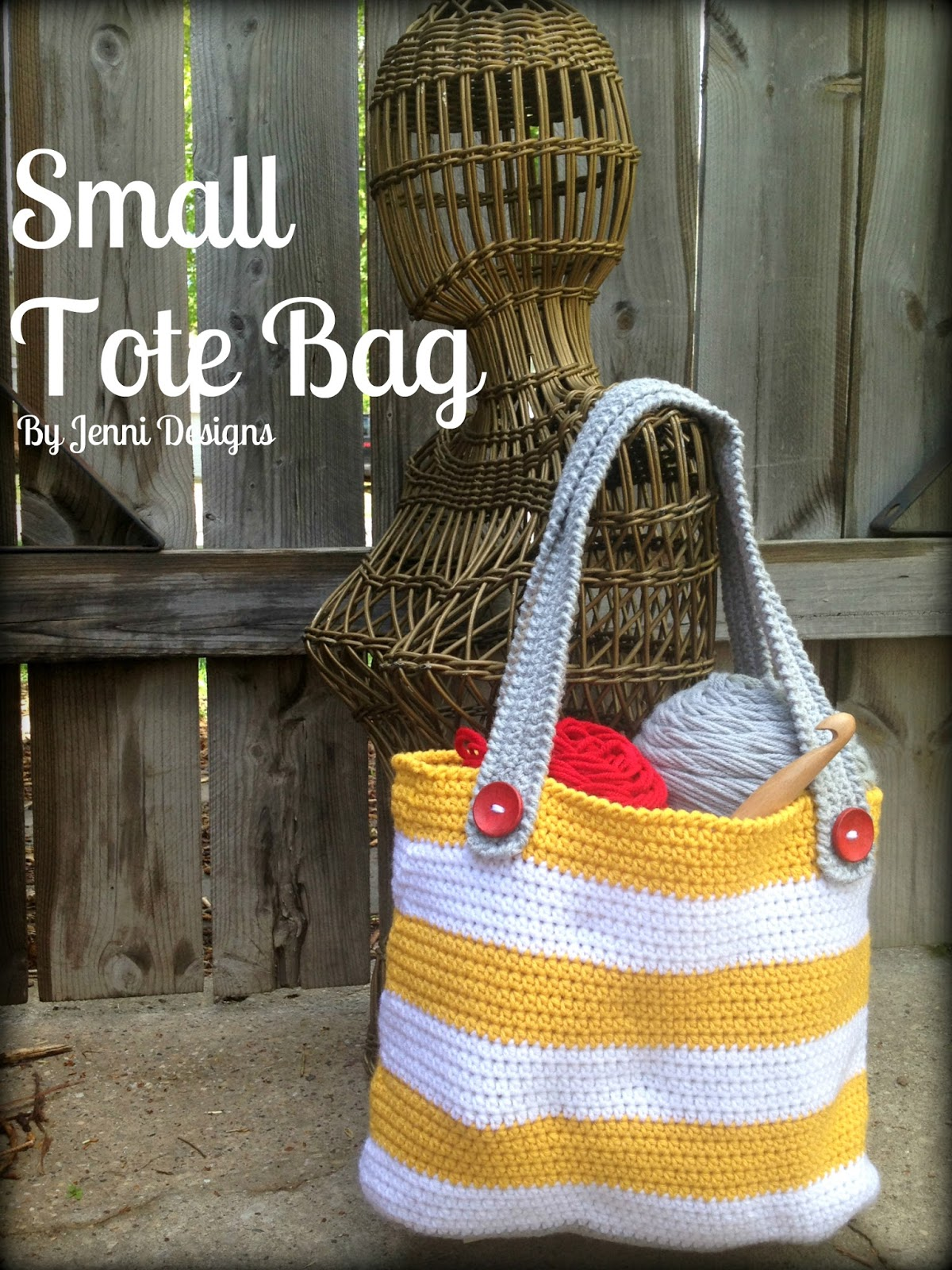 Free Crochet Pattern For Small Tote Bag : By Jenni Designs: Free Crochet Pattern: Small Striped Tote Bag