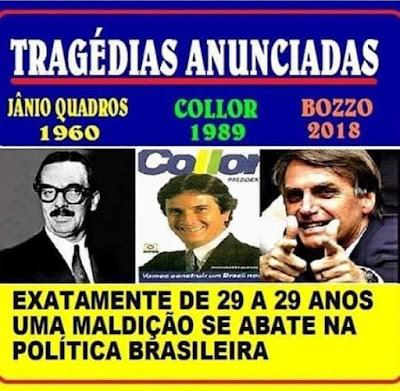 Montagem com 3 presidentes: Jânio, Collor e Bolsonaro