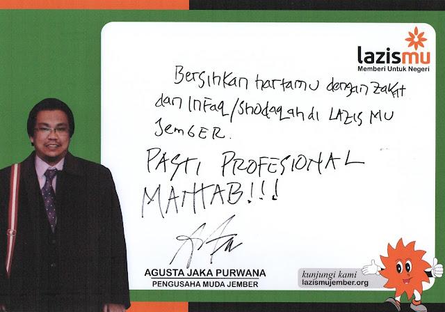 Statemen Agusta untuk Lazismu Jember