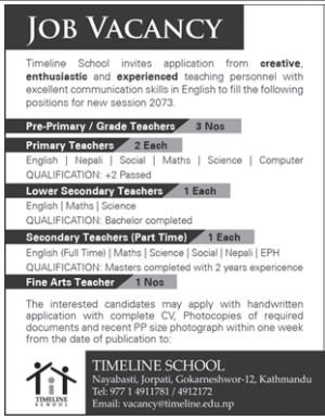 Job Vacancy For Teachers , Timeline School, Jorpati, Kathmandu