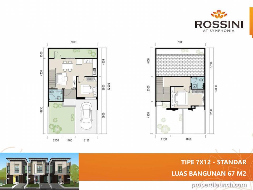 Denah rumah cluster Rossini tipe L7 Standard