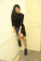 Mounika in a velvet short black dress for Tick Tack Movie Press Meet March 2017 080.JPG