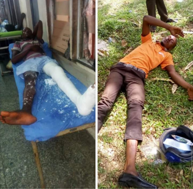 SARS operatives abandon delivery man after allegedly crashing their car door in Lagos
