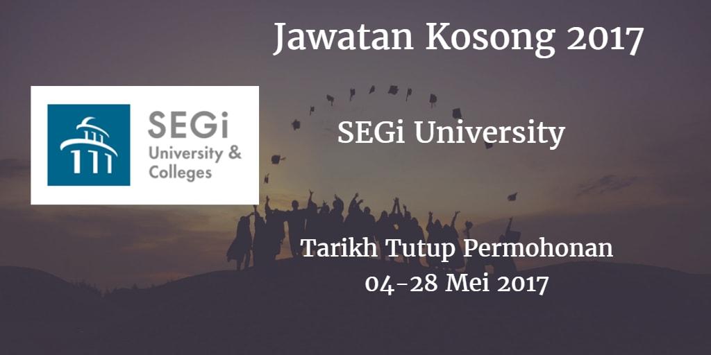 Jawatan Kosong SEGi University 04 - 28 Mei 2017