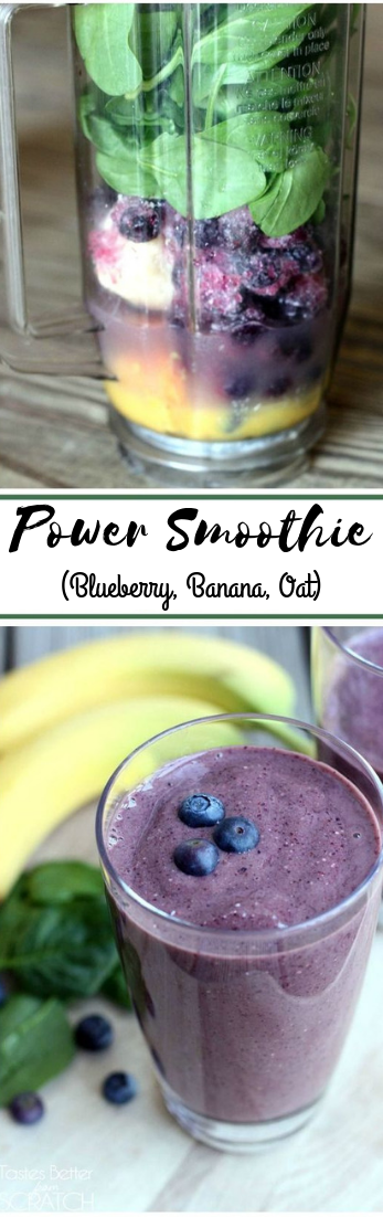 Power Smoothie (Blueberry, Banana, Oat) #smoothiedrink #juicehealthy