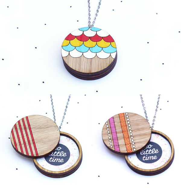 Wooden locket pendents from So Little Time Co.