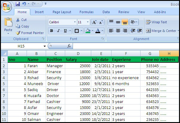 Employee data sheet - Create a Data sheet