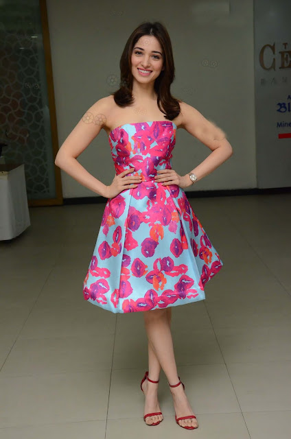 Tamannaah Bhatia Donned a Printed Strapless Dress by Monique Lhuillier
