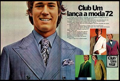 propaganda Club Um - 1971; Moda anos 70; propaganda anos 70; história da década de 70; reclames anos 70; brazil in the 70s; Oswaldo Hernandez