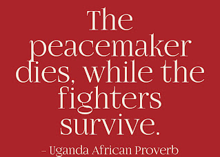 The peacemaker dies while the fighter survives.