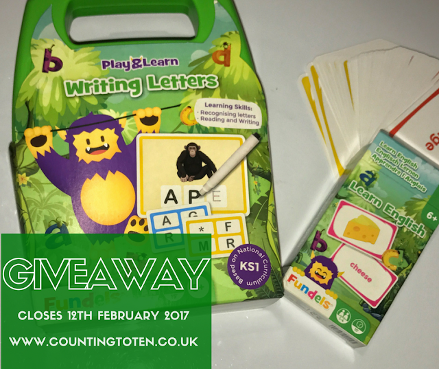 The packaging of Writing Letters and Learning Englisg (mostly green with a purple and yellow monster) and writing saying: Giveaway closes 12th February 2017 www.countingtoten.co.uk