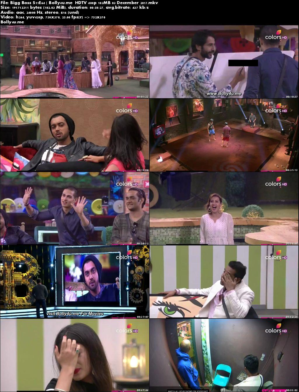 Bigg Boss S11E64 HDTV 480p 180MB 03 Dec 2017 Download