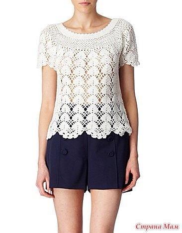 Patrón #1266:  Blusa a Crochet