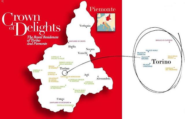 mapa das residências reais em Turim e Piemonte