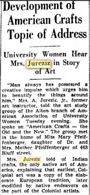 Mrs Anton Jureziz Jr gives talk on art in Alton Il 1940
