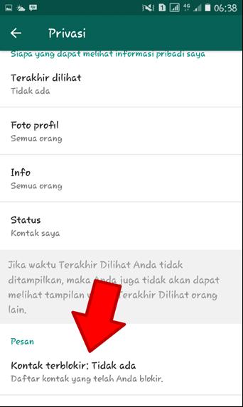 Pilih Kontak Terblokir Whatsapp