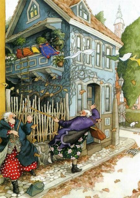Неунывающие старушки в рисунках Инге Лёёк и стихах Инны Бронштейн