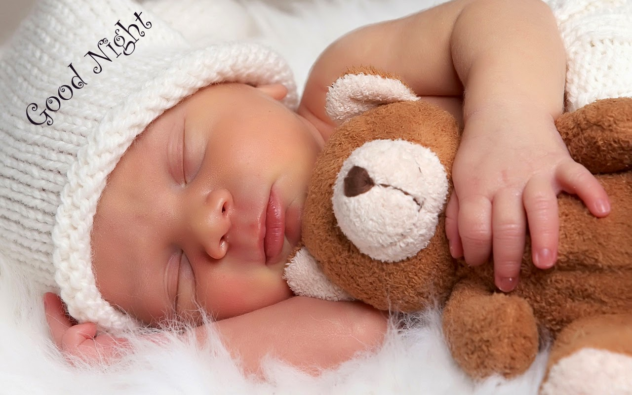 Baby Sleeping With Teddy Good Night Message Hd Wallpapers