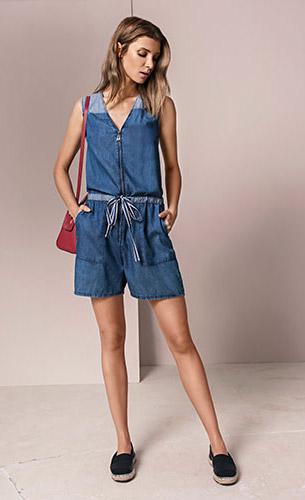 Maria.Valentina verão 2017 macacão jeans com amarração