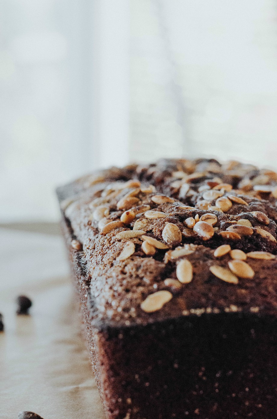 Chocolate Chip Pumpkin Spice Pound Cake With Brown Sugar Pumpkin Seed Topping [ Gluten Free ]