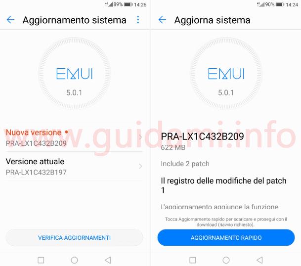 Schermata Aggiornamento sistema Huawei P8 Lite 2017