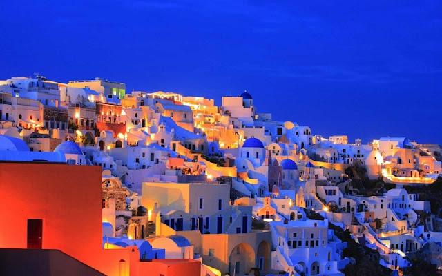 Bares na ilha de Santorini, Grécia