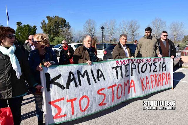 Συγκέντρωση διαμαρτυρίας της Κίνησης κατά των πλειστηριασμών Αργολίδας στην Γενική Συνέλευση των Συμβολαιογράφων στο Ναύπλιο (βίντεο)