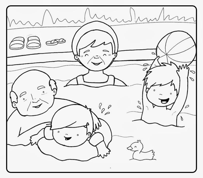Dibujo De Una Familia Disfrutando En Una Piscina Para