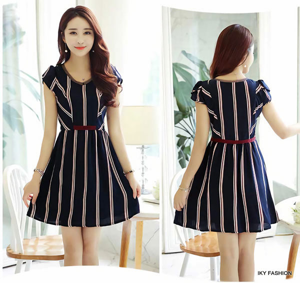 model Dress Pendek Garis Garis cewek kekinian