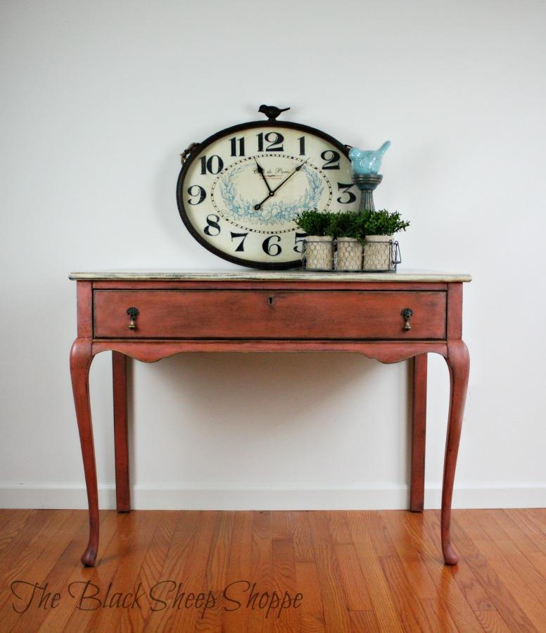 Antique desk painted with Scandinavian Pink chalk paint.
