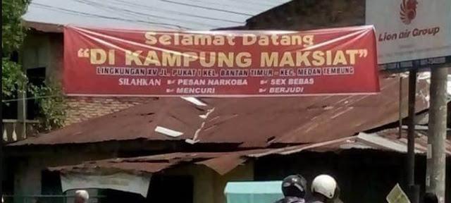 Heboh Spanduk 'Selamat Datang di Kampung Maksiat' Kota Medan, Ini Penjelasan Warga